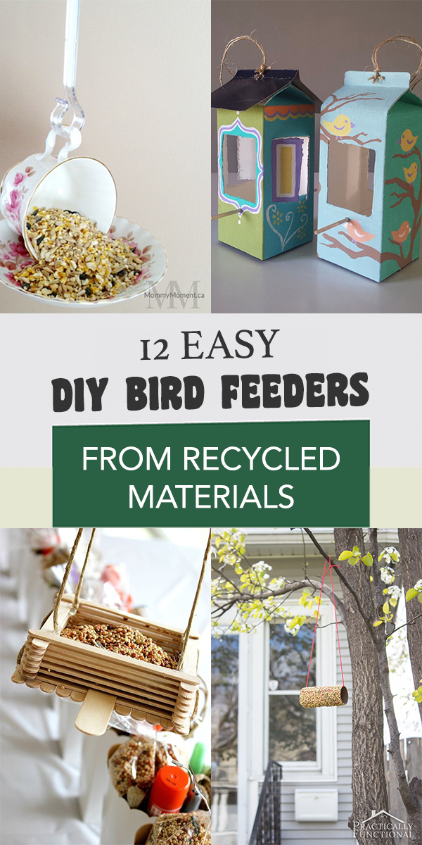 12 Easy DIY Bird Feeders from Recycled Materials