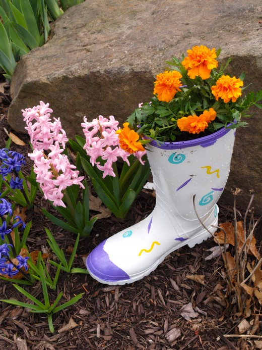 Make a Flower Pot out of a Recycled Rubber Boot