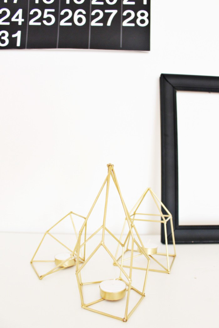 Metallic Geometric Candle Holders
