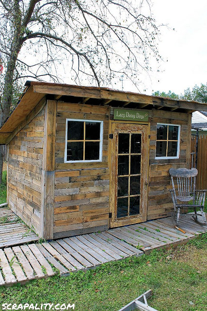Pallet Shed Using Pallets &Old Windows