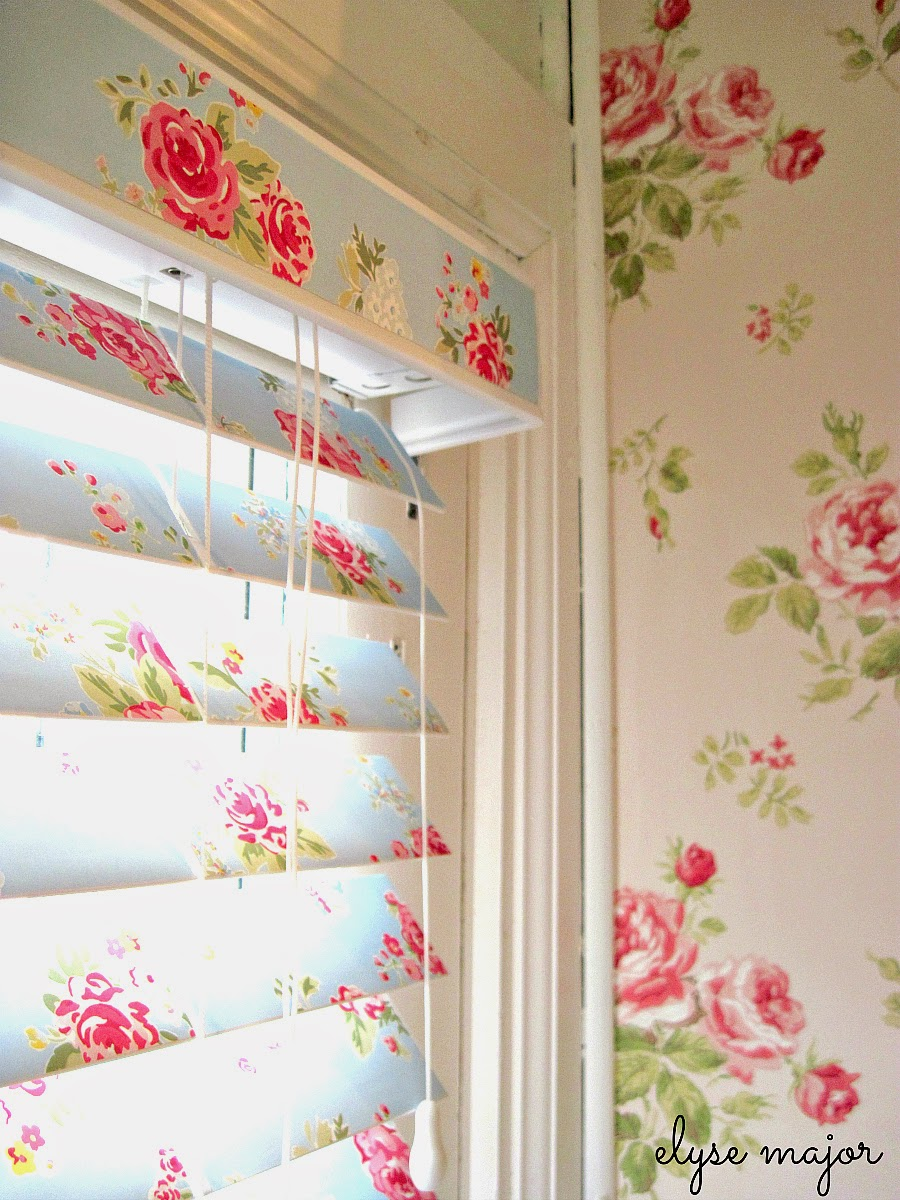 Adding pretty wallpaper to your dreary old blinds can transform a room making it look bigger and brighter