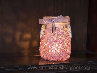 Candle Holder from Glass Jar and Crochet Doilies