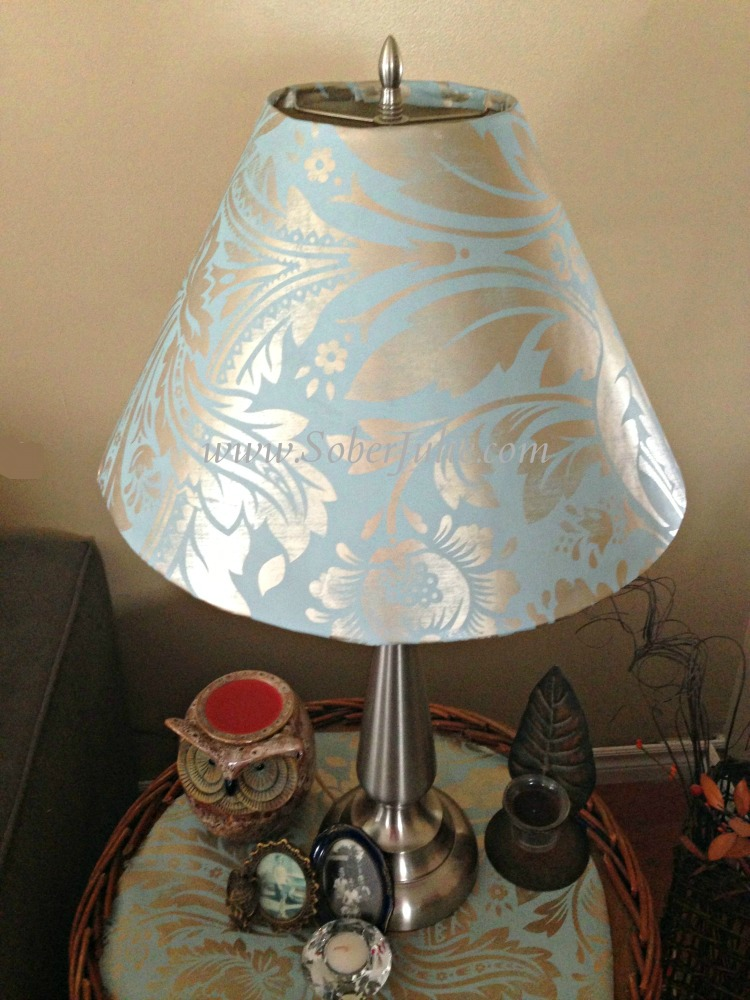 Cover a lampshade with wallpape