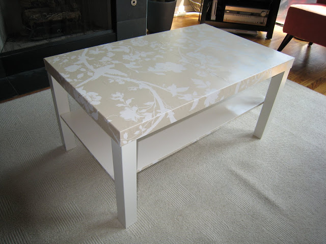 Cover the top of the coffee table with wallpaper
