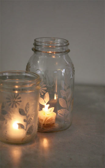 Etched Mason Jar Candle Holders