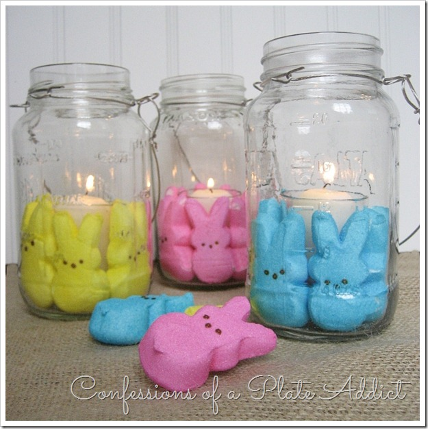Festive Easter candles Made Using Mason Jars and Bunny Peeps