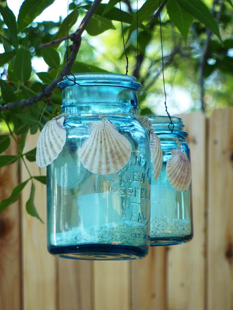 Mason Jar Lanterns with a Beach Theme