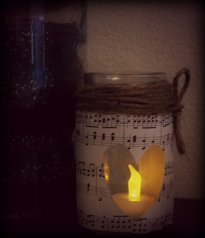 Vintage Sheet Music Mason Jar Candle Holder
