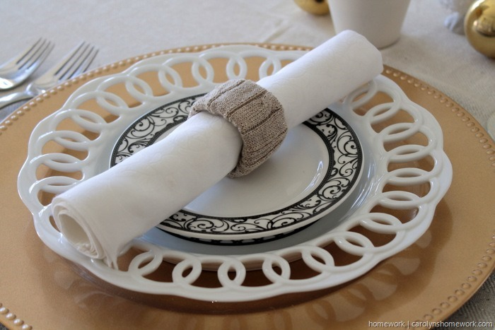 Old Sweater to Gold Napkin Rings
