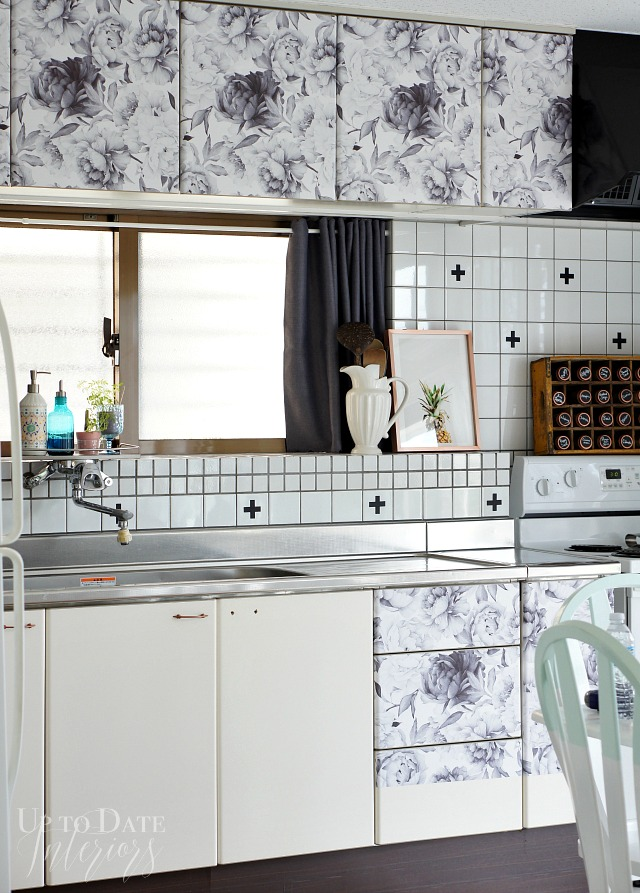 Wallpaper your cabinets to give your kitchen a whole new look