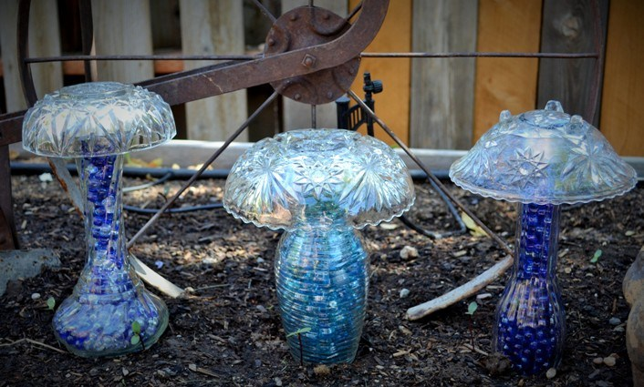 Mushrooms Made From Thrift Store Bowls and Vases