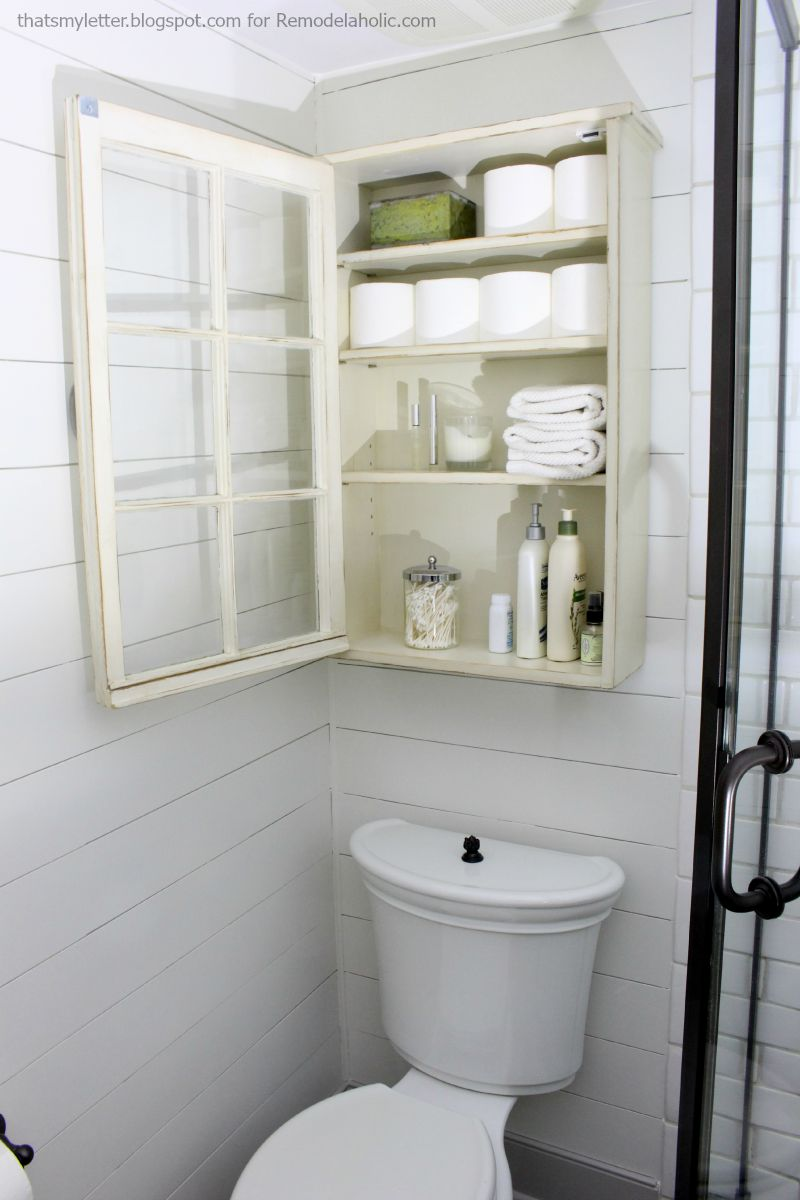 Brilliant Bathroom Storage Cabinet Using An Old Window  Remodelaholic