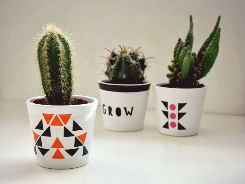 Liven up your plant pots with washi tape