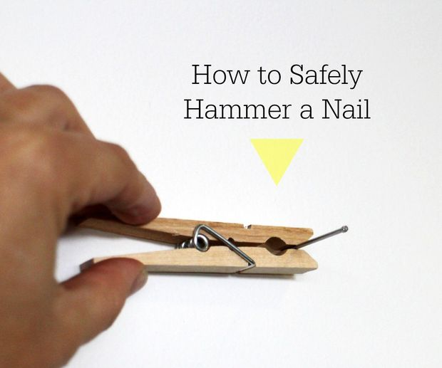 Never bang your thumb again. Use a clothespin while hammering a nail