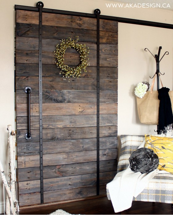Industrial Barn Door with Metal Accents