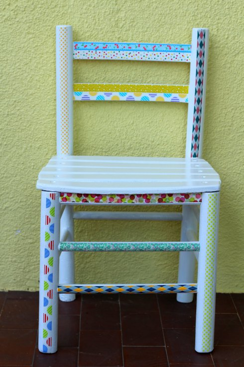 redo a chair using washi tape and paint