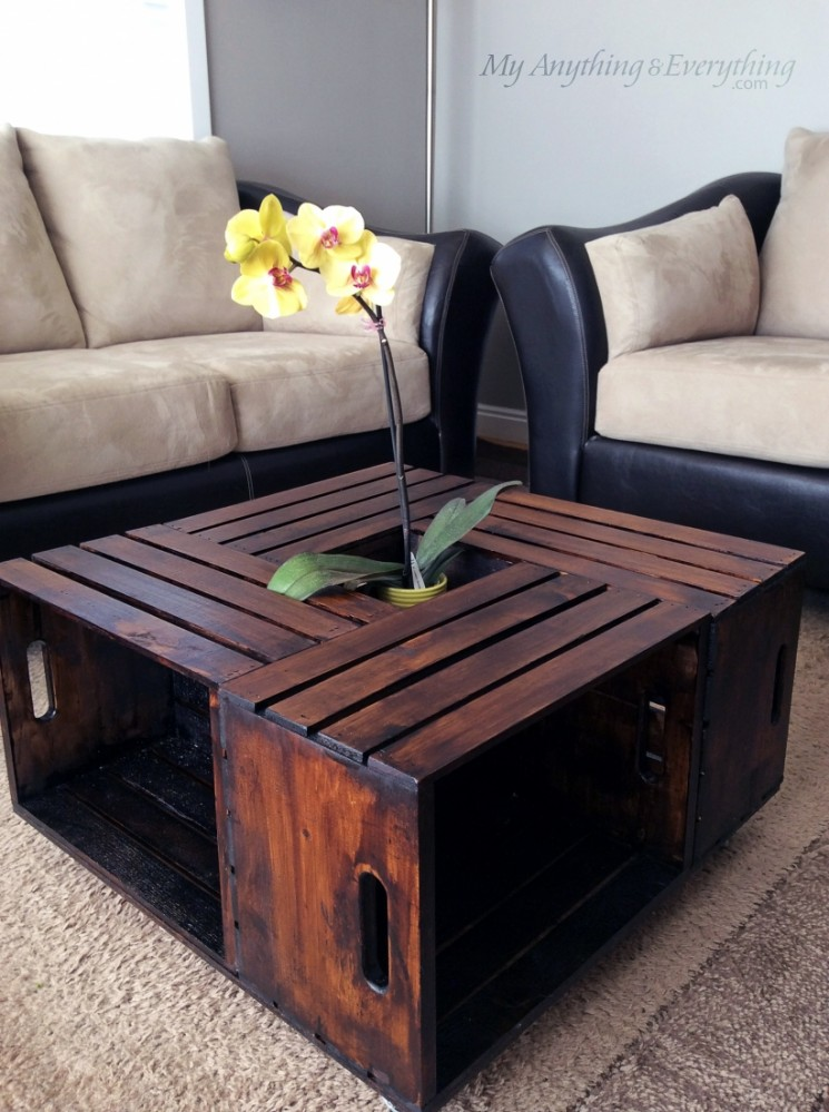 Four Crate Coffee Table on Wheels