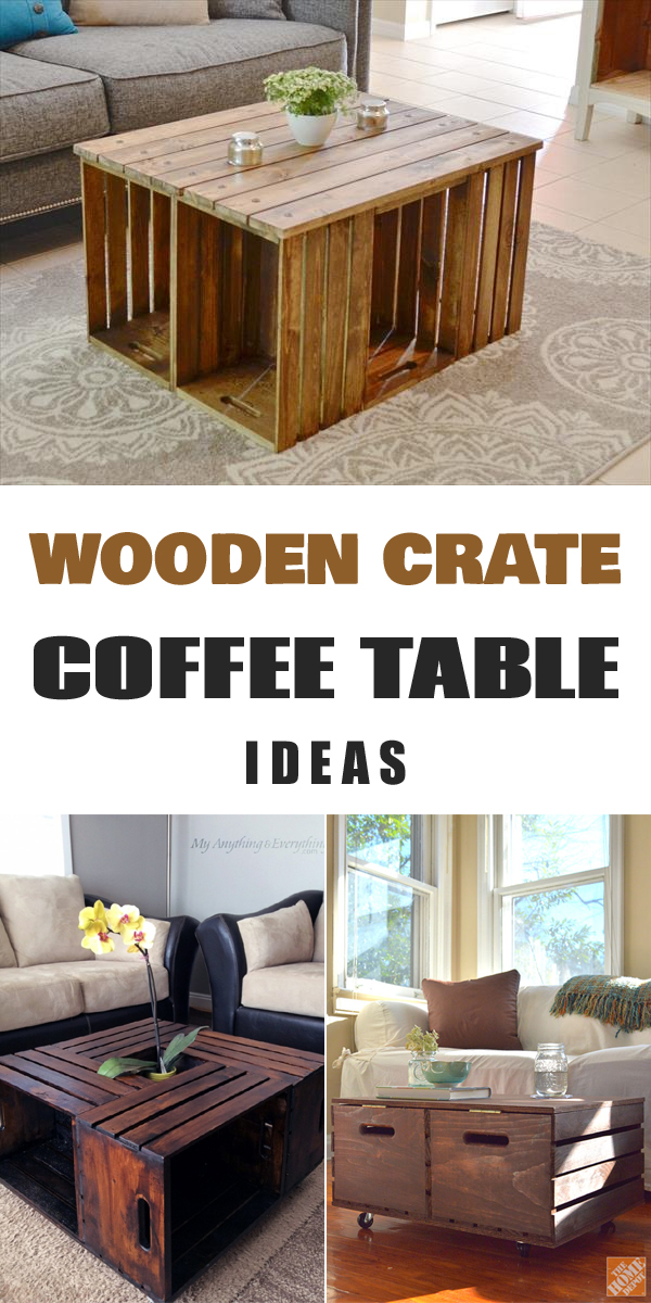 11 diy wooden crate coffee table ideas for Diy wooden crate ideas