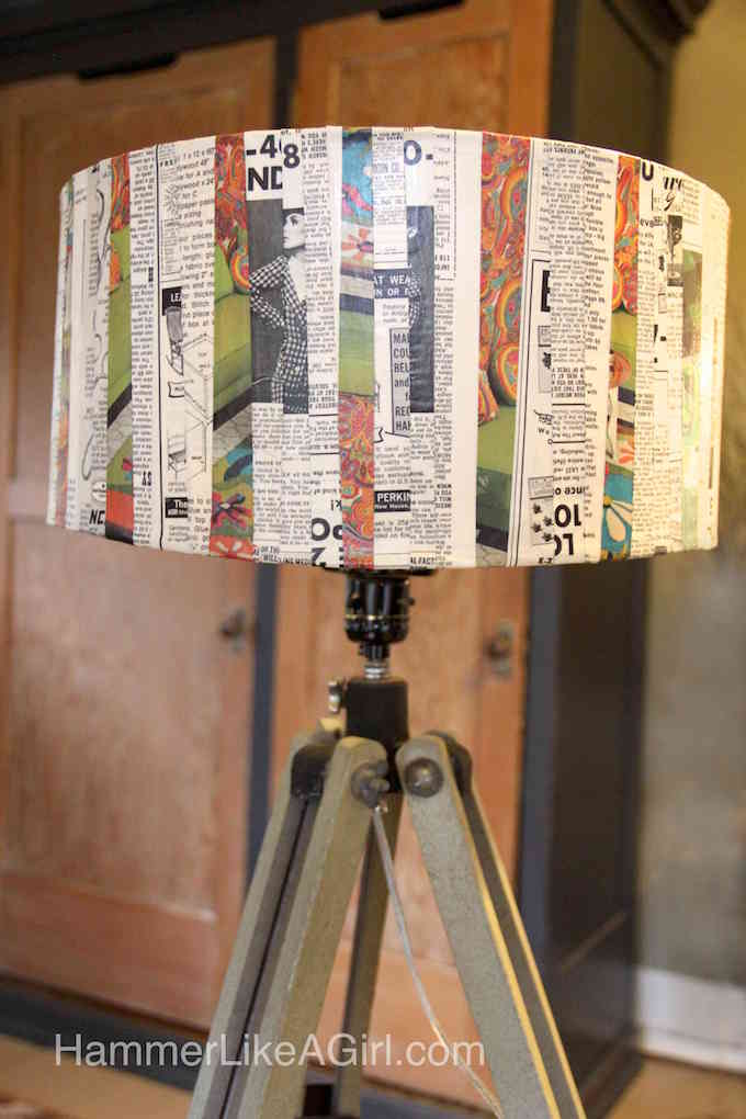 Decoupage a vintage lampshade
