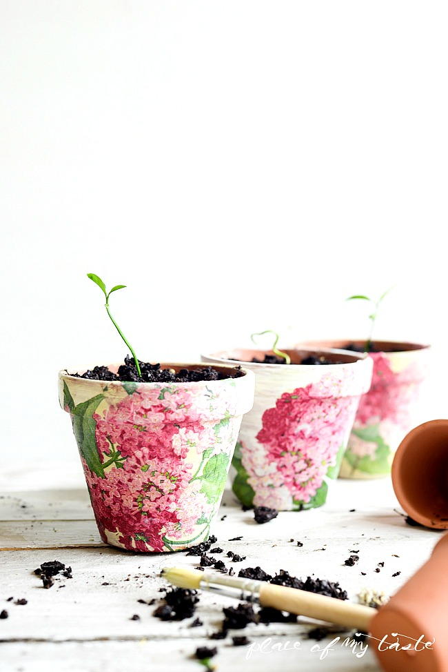 Decoupage pots in paper napkins