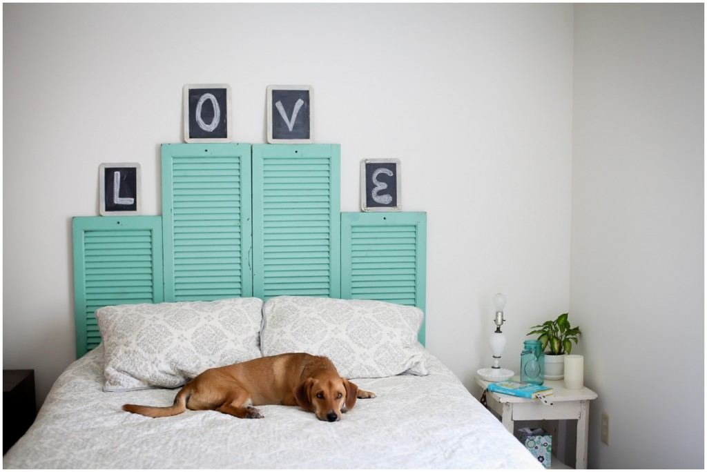 Make an inexpensive headboard with shutters and some paint