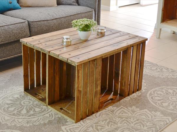 Pallet Coffee Table With Crate Sides
