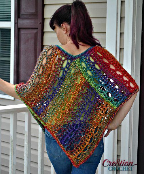 Rainbow Lace Crochet Poncho