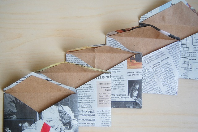 Recycled Newspaper Envelopes with Liners