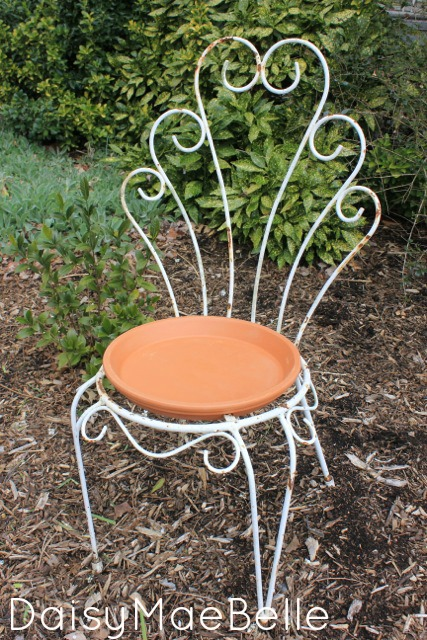 Salvaged Chair Bird Bath
