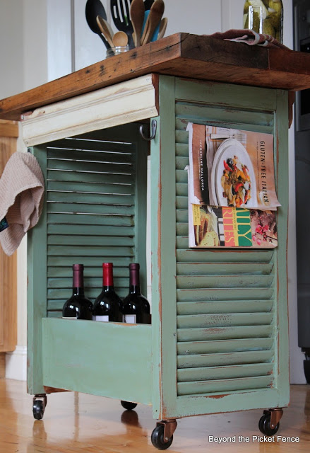 Use shutters to create a cool island for your kitchen