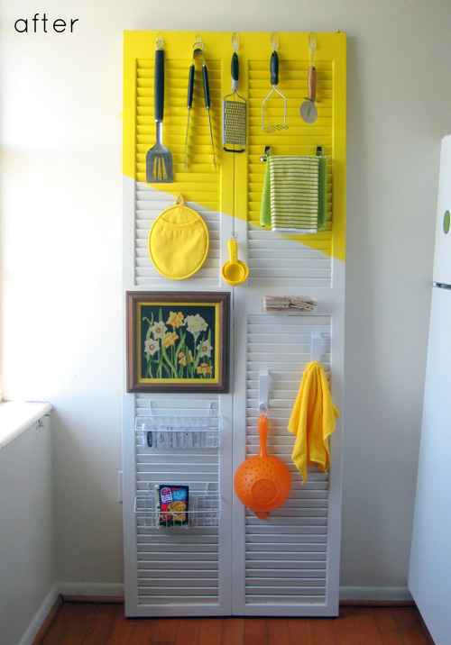 Shutters are a great place to store kitchen items