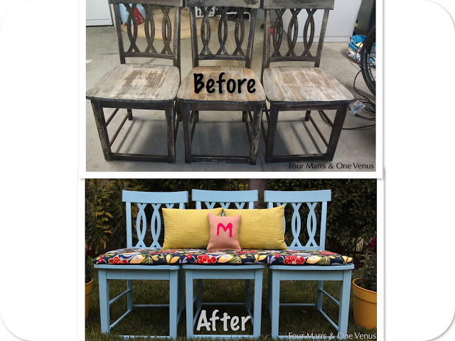 Use 3 Old Chairs to Create This Gorgeous and Comfortable Outdoor Bench