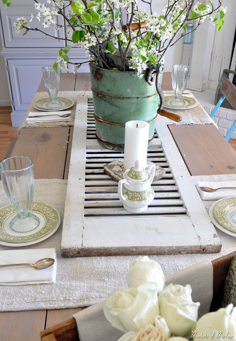 Use a window shutter as a table runner