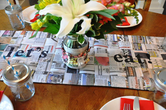 Woven newspaper table runner