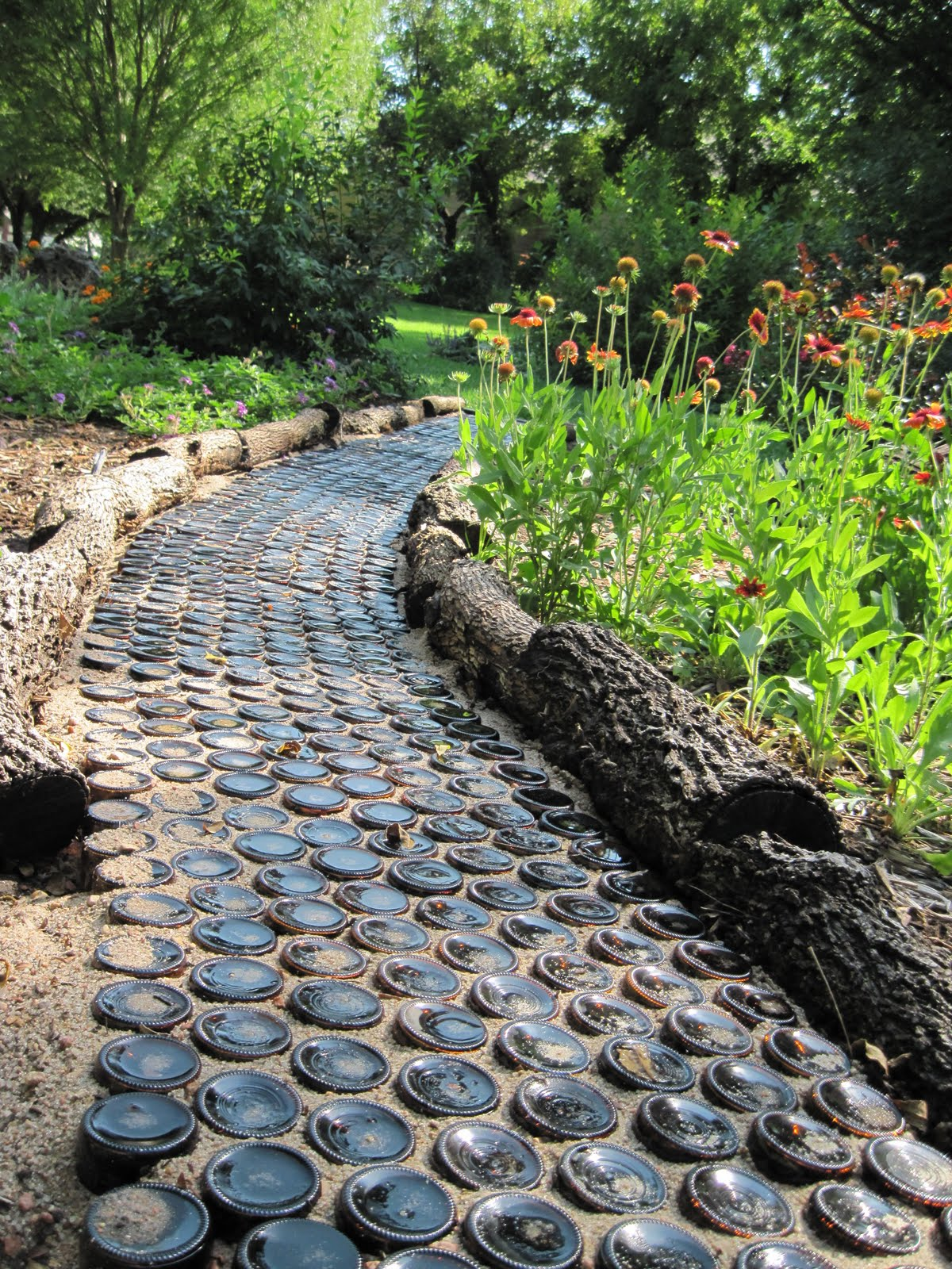 Garden Path from Wine Bottles