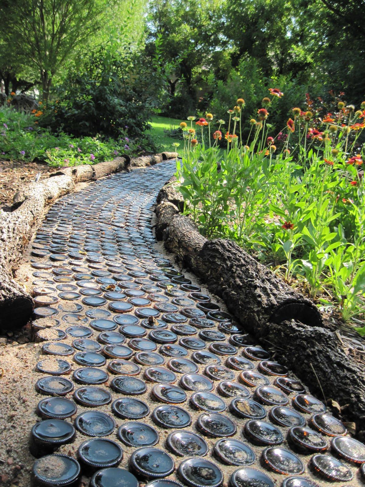 Garden Path from Wine Bottles