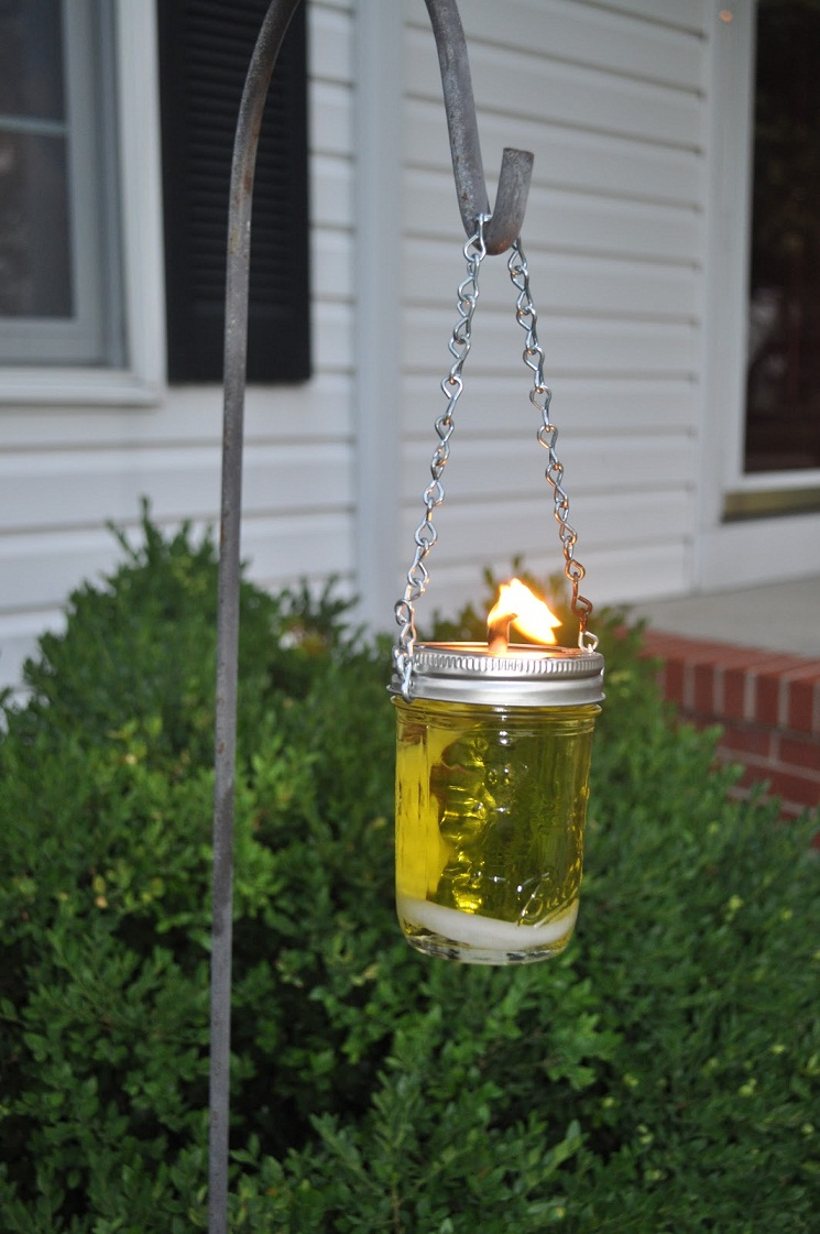 Hanging Mason Jar Oil Lamp