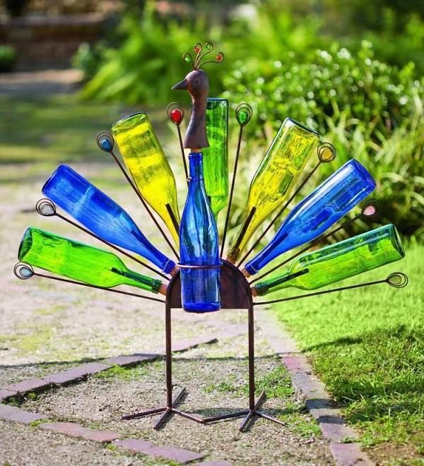 Peacock from Wine Bottles