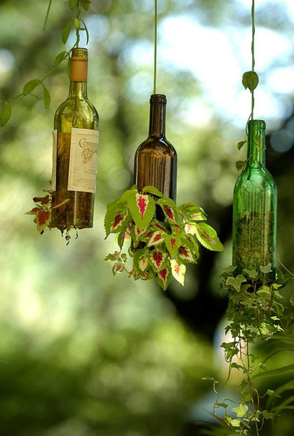 Upside Down Wine Bottle Planter