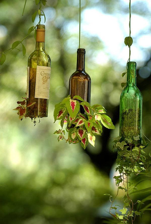 Upside Down Wine Bottle Planter