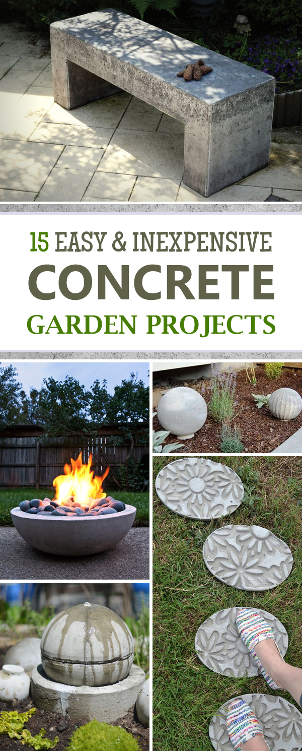 15 Easy and Inexpensive DIY Concrete Garden Projects
