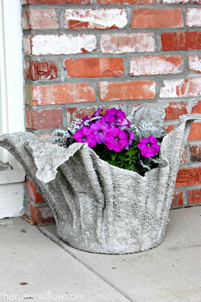 Concrete Planter made from an Old Towel