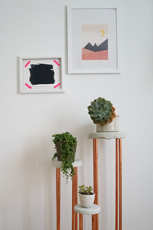 Concrete and Copper Plant Stand