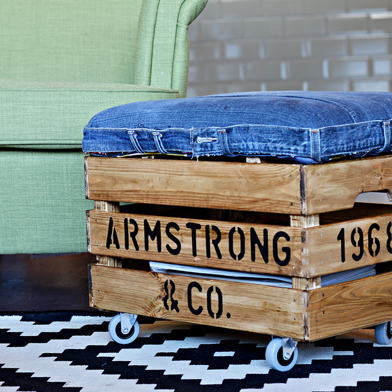 Footstool With Storage From Jeans and a Crate