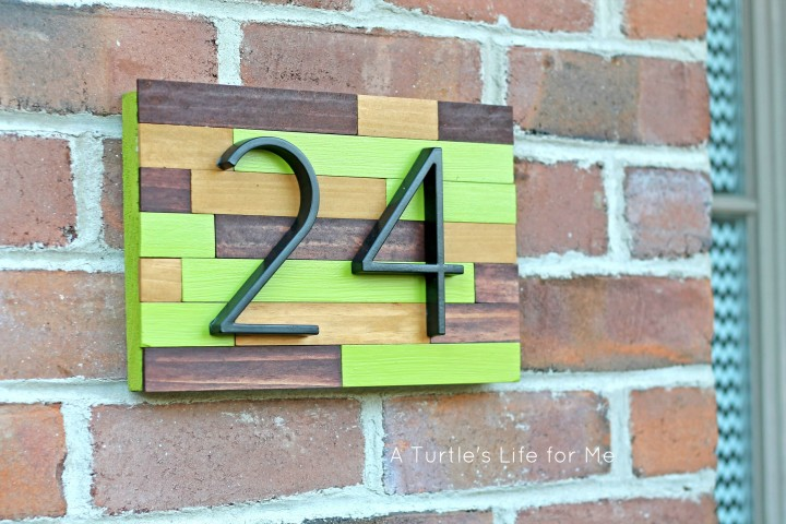 House Number Plaque From Paint Sticks And Scrap Wood