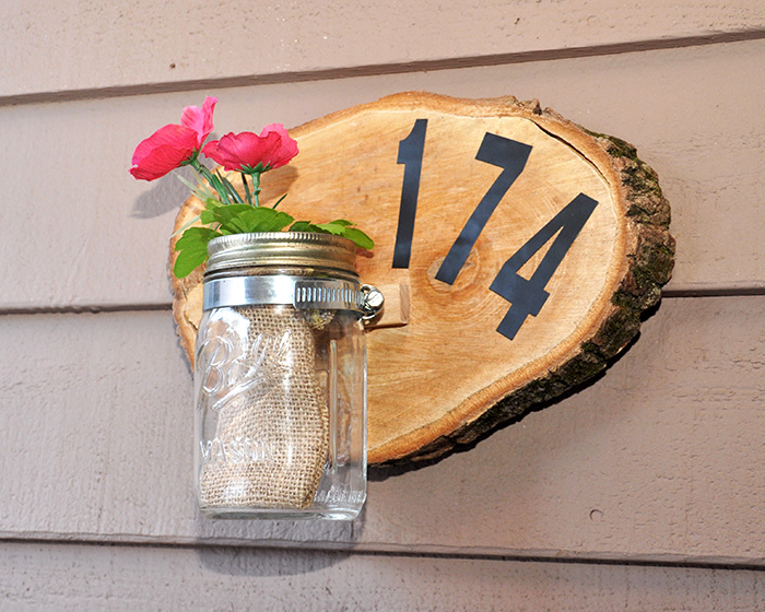 House Number Sign from a Wood Slice