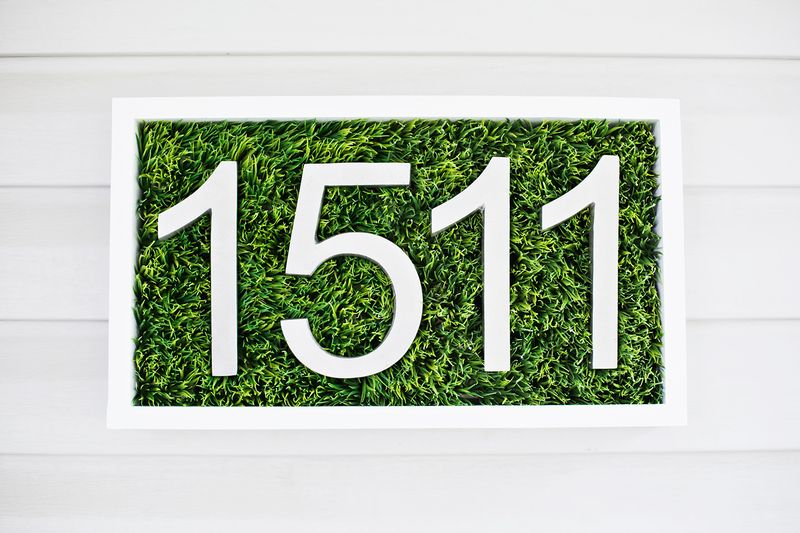 House Numbers Made of Faux Grass