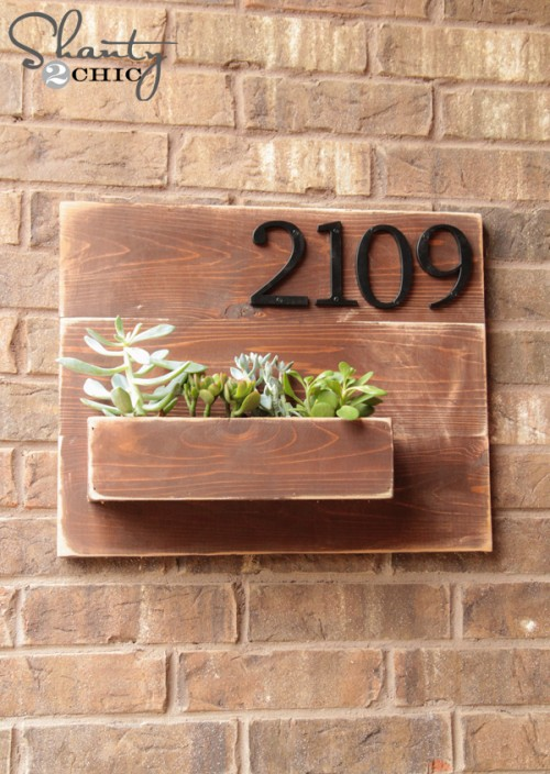 wall planter address sign