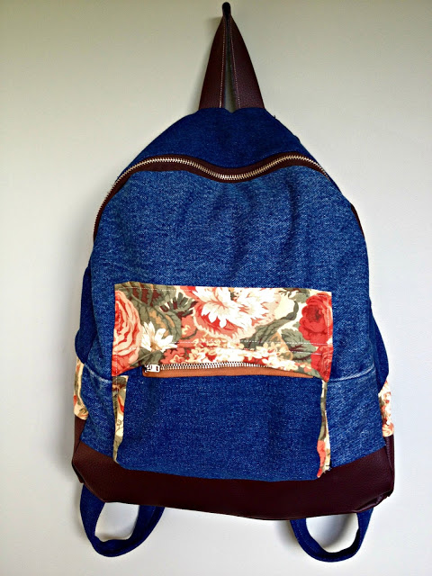 Backpack from Denim Scraps