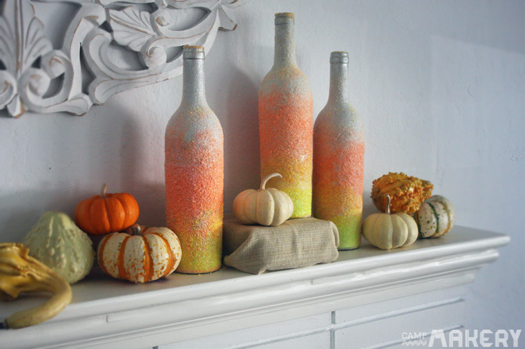 Candy Corn Ombre Glitter Wine Bottles
